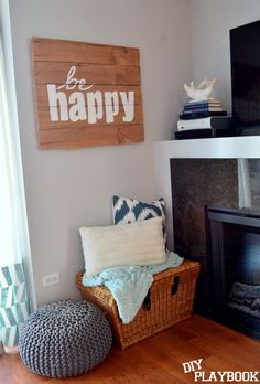 A big sign like that would be great in the living room.Create a nook with some personalized art & cozy pillows! Diy Playbook, Up House, Apartment Living, Apartment Bedrooms, Apartment Ideas, My New Room, Home Projects, Pallet Projects, Home And Living