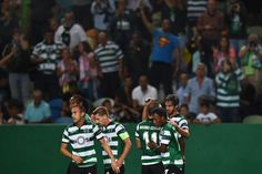 Sporting's Costa Rican forward Bryan Ruiz ® celebrates a goal with teammates during their UEFA Champions League football match between Sporting CP and Legia Warsaw at the Jose Alvalade stadium …. Bryan Ruiz, Champions League Football, Football Match, Wrestling, Celebrities, Expresso, Sports, Costa, Lucha Libre