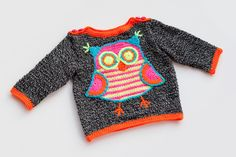 Knit Owl Baby Sweater,Baby Sweater,Knitted Sweater,For Babies,Crochet Owl,Owl Theme,With a motif of an owl,sizes: 0-12 months, MADE TO ORDER by namabi on Etsy