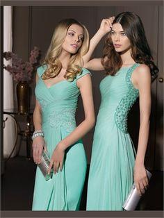 Green Column Applique Chiffon 2014 Prom Dresses