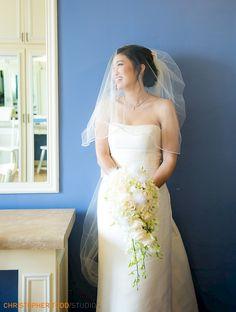 bride alone wearing full veil at trump national golf club wedding photographer