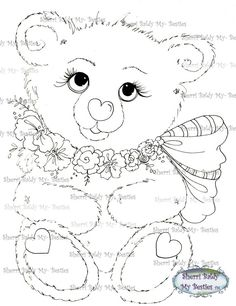 INSTANT DOWNLOAD Digital Digi Stamps Big Eye Big Head Dolls Bestie New Hug-able Bestie Bears Rosie  img540 My Besties By Sherri Baldy