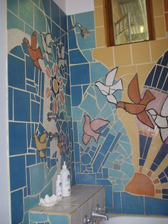 Bathroom Tile Mosaic--oh my...if i ever have a bathroom i can decorate, ill use this as inspiration