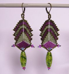 Chandelier Earrings – Art deco inspired earring- Green and Magenta – a unique product by DarkEyedJewels on DaWanda