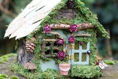 Miniature Fairy House - Fairy Cottage, Fairy Garden, One of a Kind, Fairy Lights, Garden Fairy, Mini House. Dollhouse, Rustic by FairiesofTranquility on Etsy www.etsy.com/...