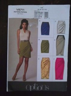 Vogue Pattern V8711 Fitted Skirt Mock Wrap Easy AA 6-8-10-12 Uncut #VoguePatterns