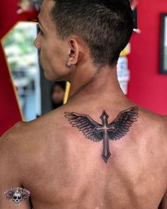 Cruz com Asas Tattoo- Cruz com Asas Tattoo Cruz com Asas Tattoo - Back Tattoos, Cover Up Tattoos, Love Tattoos, Small Tattoos, Tattoos For Guys, Tattoos For Women, Cross With Wings Tattoo, Cross Tattoo For Men, Wing Tattoo Men
