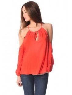 Off cold shoulder oranje top