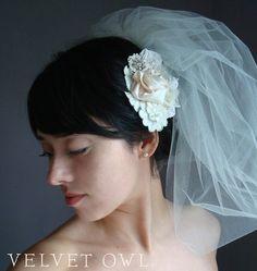 Love love love this style veil, with hair half up/half down? 40's wedding hair