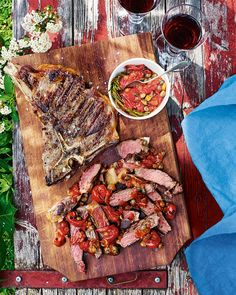 This is steak Venetian style – served sliced with a sweet and tangy sauce of cherry tomato, garlic, capers and rosemary.