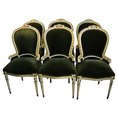 French Painted Gilt Dining Chairs - Set of 6 Painted Dining Chairs, French Dining Chairs, Wicker Dining Chairs, Outdoor Chair Cushions, Leather Dining Room Chairs, Dining Chair Set, Vintage Furniture, Furniture Decor, Luxury Dining Chair