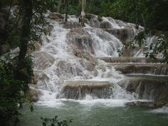 Dunn's River Falls Jamaica - no we didn't climb it but I wished we had.  It was so hot and the trip off the ship was overbooked.  We got the van with no air!