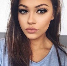 Brows, lashes, & lips--beautiful girl, natural look