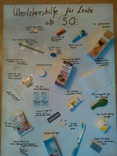 50 Geburtstag Survival Überlebens Kit - New Ideas Birthday Gift Picture, Funny 50th Birthday Gifts, 50th Birthday Party, Sister Birthday, Work Anniversary, Anniversary Funny, Anniversary Gifts, Wedding Anniversary, Survival Kit Gifts