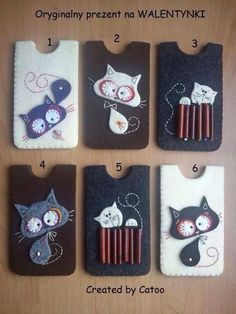 ♥ Etuis en feutrine / Felt phone case / Kot kotek filc etui telefon Prezent na WALENTYNKI.for all the kitty lovers in your life!great presents! Fabric Crafts, Sewing Crafts, Sewing Projects, Craft Projects, Felt Phone Cases, Felt Case, Cat Crafts, Diy And Crafts, Arts And Crafts