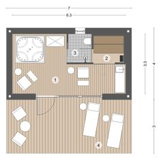 Mini Sauna, Jacuzzi Room, Bungalow, Wellness, Room Planning, Landscape Design, Outdoor Living, Floor Plans, House Design