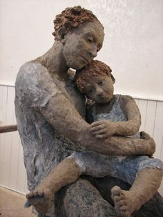 blue - mother and child - figurative sculpture - Jurga Martin Sculptures Céramiques, Sculpture Clay, Ceramic Sculptures, Ceramic Figures, Clay Figures, Statues, Traditional Sculptures, Art Carved, Contemporary Sculpture