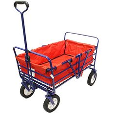 Next Generation Folding Wagon Field Work Garden Utility Cart with Polyester Basket Spring Bounce Feature Auto Safety Locks Handle Steering  Sapphire Blue Sapphire Blue with Red Basket ** Read more reviews of the product by visiting the link on the image.