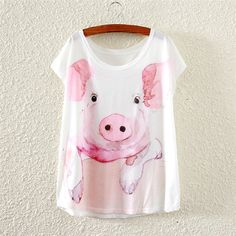 69551cb79 Small pink pig loose women's printed short-sleeved T-shirt women tees tops  2016 summer style female Casual t shirt lady clothes