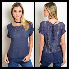 Relaxed fit top LAST ONE LEFT!! This sheer woven relaxed fit top features a crochet back with a lace up detail and short sleeves.If you are unsure of what size to order,  just ask and I can provide measurements!! Material: 65% Rayon, 35% Polyester NO TRADES Reasonable offers considered. Please no low ball offers. Tops Tees - Short Sleeve