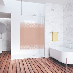// 2017 // Give a personal touch to your bathroom enclosure with this elegant decorative motif with an design 🔸🔸 You will have a with style and personality. The age of personalisation ⇉ Ethnic Design, Shower Enclosure, Bathroom Ideas, Bathrooms, Personality, Shades, Colours, Age, Touch