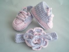Baby Shoes and Headband Set / Crochet Headband with Flower /  Crochet Baby Slippers / Crochet Baby Trainers / Crochet Baby Booties by CrochetcutiesbyJools on Etsy
