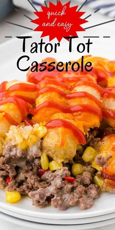 Loaded with layered hamburger, veggies, and cheese, this quick & easy dinner recipe is topped with golden brown tator tots & more cheese! It's a classic family favorite recipe that will become one of your all time favorites!