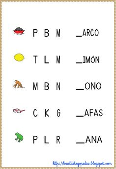 Conciencia Fonológica - Empieza por consonante Teaching Kids, Kids Learning, Home Schooling, Worksheets For Kids, Fun Math, Speech Therapy, Homeschool, Language, Classroom