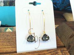 14K Gold Plated gray glass earrings $21