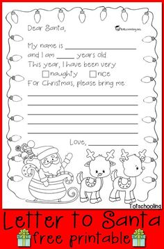 Free Letter to Santa Printable Use this free printable to let your kids write a letter to Santa Claus and write down their Christmas wish list. Also makes a great coloring page. The post Free Letter to Santa Printable appeared first on Crafts. Noel Christmas, Christmas Colors, Christmas Wishes, Christmas Projects, Christmas Themes, Winter Christmas, Christmas Letters, Christmas Lists For Kids, Christmas Activities For Preschoolers