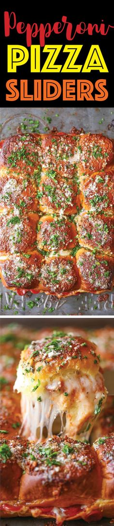 Pepperoni Pizza Sliders - These are a guaranteed hit with family and friends! So buttery, so cheesy and so easy to make (can be made ahead of time too!).