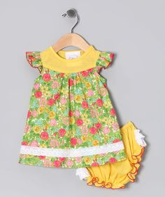 Take a look at this Mythereal Yellow Floral Dress & Diaper Cover - Infant on zulily today!