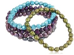 5 Piece Multi-Color and Shape Dyed Freshwater Cultured Pearl Stretch Bracelet Set, 7.5' ** Want to know more, click on the image. (This is an affiliate link and I receive a commission for the sales)