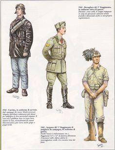 Regio Esercito - Carrista 1942 - 2 Sergente !o Rgmt Artiglieria, 1942 - 3 Bersagliere del 3o Rgmt, 1942