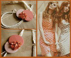 #necklace #handmade #jewelry #fashion #fabricsjewelry #style #accessories #unique #vintage #retro #polkadots #flowers #roses #lace #pearls #retro #romantic #orange #red