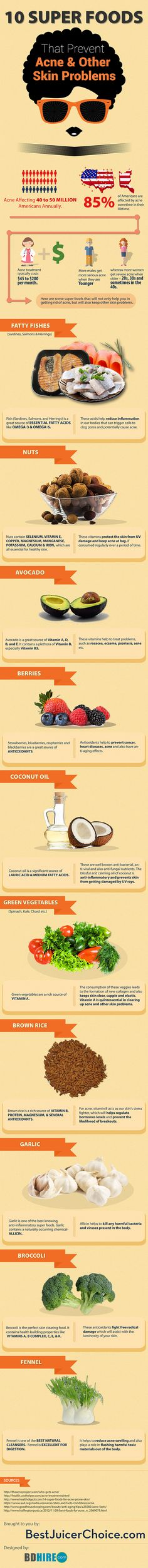 10 Super Foods That Prevent Acne & Other Skin Problems. #Infographic