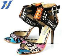 Новый летний 2015 мода заклепки высокие каблуки Jc дизайнер из натуральной кожи цветок цвета женщин сандалии свадебные туфли Jh-126(China (Mainland))
