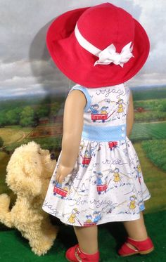 Bon Voyage Print Dress with Hat and Unders for 18 inch Girl