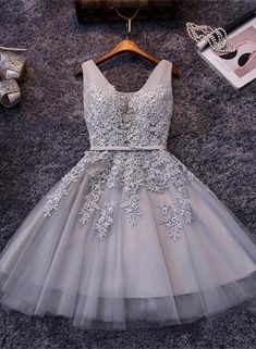 Prom Dresses Short Homecoming Dresses With Appliques Sleeveless Prom Dresses Cute Prom Dresses Lace Homecoming Dresses Prom Dresses 2019 Grey Prom Dress, Lace Homecoming Dresses, V Neck Prom Dresses, Tulle Prom Dress, Grad Dresses, Lace Dress, Evening Dresses, Short Dresses, Formal Dresses