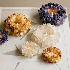 Quartz crystal candle holders