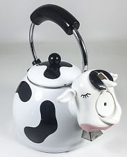 KAMENSTEIN WHISTLING COW TEA KETTLE WITH COW BELL 2 1/2 QT