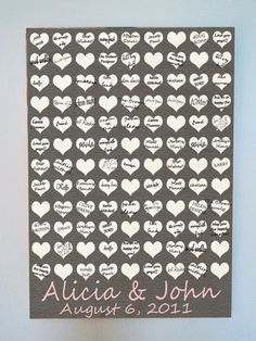 Wedding Guestbook Wall Art instead of the traditional book.  Could be a cute idea.. some type of guest book for wall art.- Become a VIB today for more great wedding resources and deals from all of our VIB  Wedding Vendors