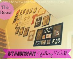 Stairway Gallery Wall - black and white with pops of red