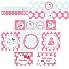 Complete Hello Kitty Birthday Party Favor tags by EllaJaneCrafts, $25.00
