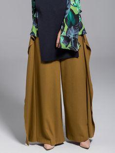 Shop Wide Leg Pants - Camel Elegant Wool Blend Ruffled Solid Wide Leg Pant online. Discover unique designers fashion at StyleWe.com.