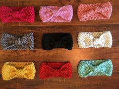 Crochet Headbands Handmade crochet headbands with knotted front. - Handmade crochet headbands with knotted front. Crochet Headband Free, Crochet Headband Pattern, Newborn Crochet, Knitted Headband, Crochet Patterns, Crochet Hats, Crochet Ideas, Newborn Girl Headbands, Headband Baby