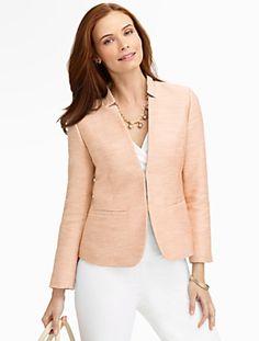 Talbots - Sparkle Tweed Stand-Collar Jacket | New Arrivals |