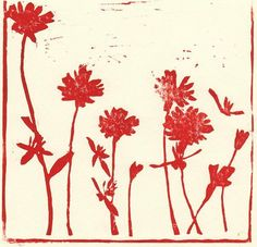 lino print, flowers, graphics, printmaking