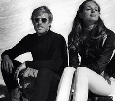 Redford and swedish sexpot Camilla Sparv on the set of Downhill Racer in Kitzbühel, Austria. 1969
