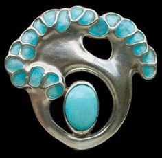 MAX JOSEPH GRADL 1873-1934 for THEODOR FAHRNER  Jugendstil Brooch   Silver Enamel Turquoise  H: 2.7 cm (1.06 in)  W: 2.9 cm (1.14 in)   Marks: 'TF' 'MBCo' ''REGD' & '950'  German, c.1900